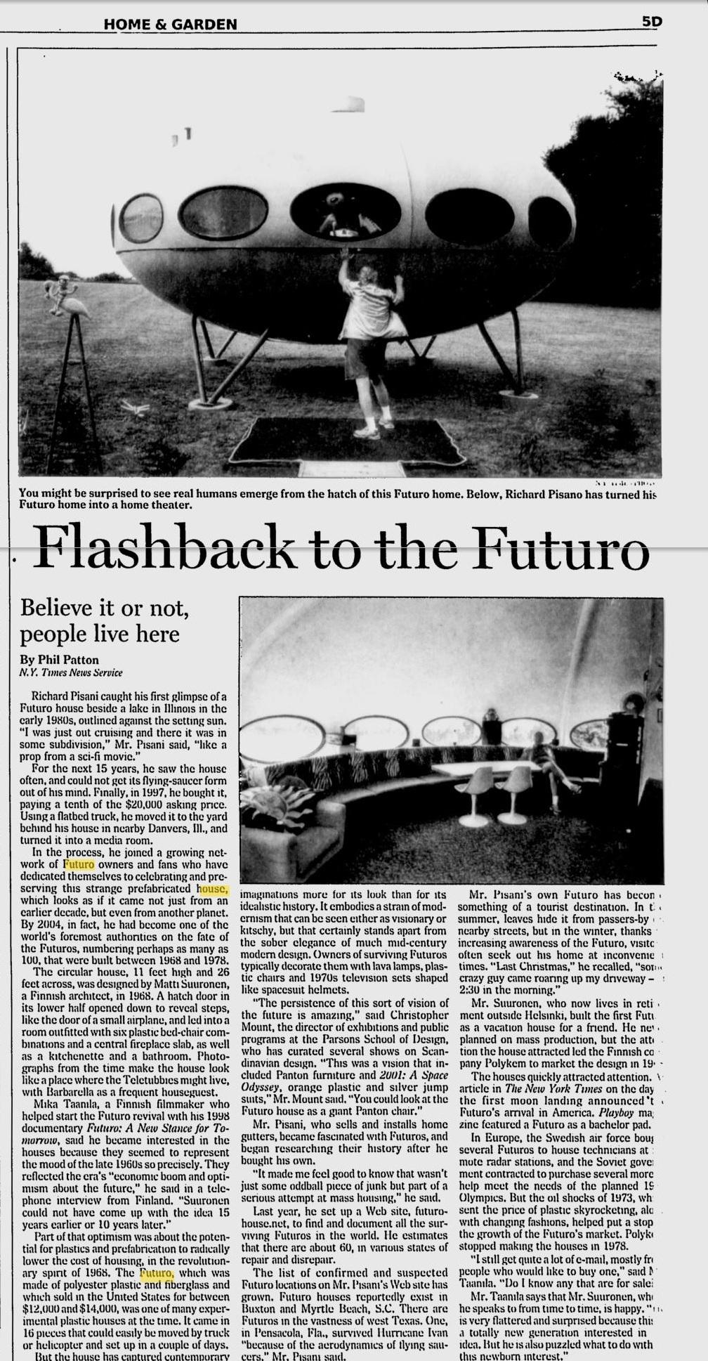 Futuro, Danvers - Star News 080505