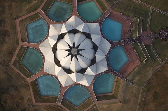 The Lotus Temple, New Delhi, India - Top Down